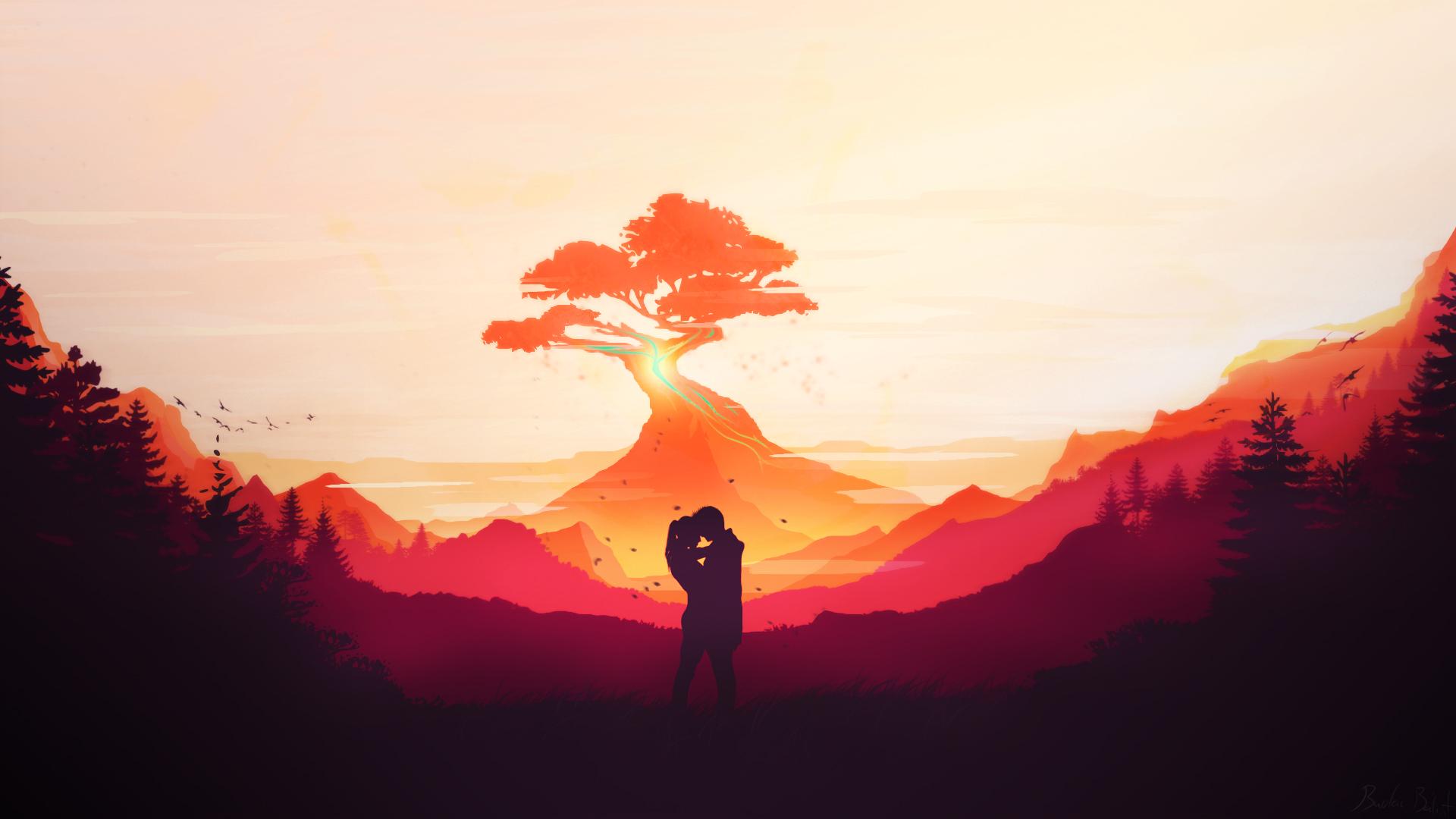 爱情美图,情侣,红色,背影,爱情,风景
